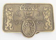 "Coors Banquet Beer Brass Belt Buckle Made in USA 3 3/8"" x 2 3/8"" Breweriana"