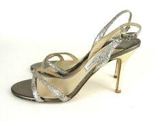 Jimmy Choo Slingback Strappy Sandal Heels 39.5/9.5 Silver Glitter Formal #1008