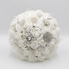 Artificial Wedding Flowers Brides Posy Bouquet in White Roses with Brooches
