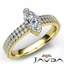 Marquise Diamond Engagement U Cut Prong Ring GIA E VS1 18k Yellow Gold 1.22Ct