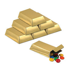 """12 pc 3"""" GOLD BAR Pirate CASINO Gangster Bank Birthday Party Goodie Bag Favor Bo"""