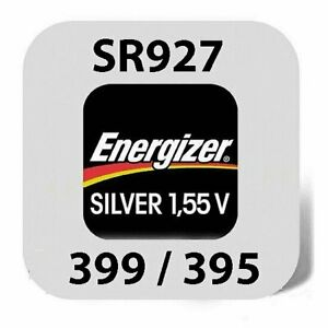 2x Energizer Uhren Batterie Knopfzelle 395/399 SR927SW AG7 Silberoxid Blister