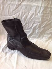 Ladies Black Ankle Leather Boots Size 40