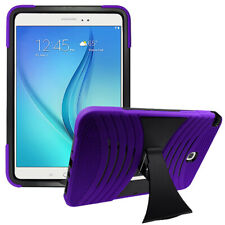 "For Samsung Galaxy Tab A 8.0"" T350 Silicone + Hard Cover Case Purple + Protector"