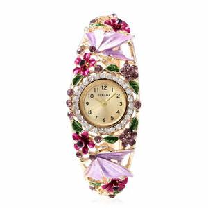 STRADA White Crystal Japanese Movement Bangle Cuff Bracelet Watch in Goldtone