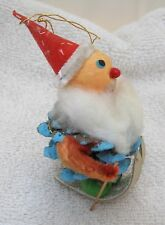 "Vintage Spun Cotton Skiing Santa Blue Pinecone Body Fat Beard 31/2"" Ornament T29"