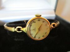 Vintage 9ct Gold Omega Womens Watch Wristwatch Working Well Band also gold