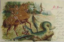 """"""" sagen , Unidad Georg, caballero, Dragón"""" 1901 , POSTAL RELIEVE ORO (16193)"""