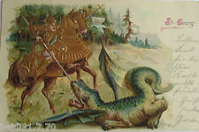 """decir, St. Georg, caballero, dragón"" 1901, goldprägekarte ♥ (16193)"