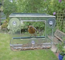 CLEAR VIEWING BIRD FEEDER SUCTION PERSPEX BIRD NEST TABLE SEED PEANUT HANGING