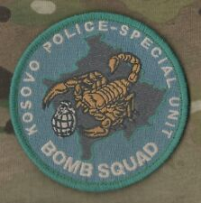 NATO KOSOVO POLICE SPECIAL EOD UNIT burdock SHOULDER PATCH: BOMB SQUAD subdued