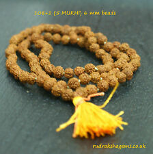 RUDRAKSHA 6MM 6 MM JAPA MALA ROSARY 108+1 BEAD YOGA HINDU PRAYER MEDITATION SALE