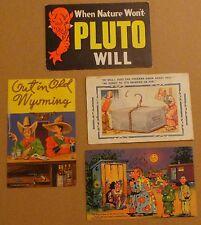 Lot of 4 Vintage Pre-Wwii Funny Joke Postcards - Pluto + Cowboy + Restrooms Ect