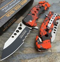Tac Force Spring Assisted Open Red/Orange Camo Tactical Rescue Pocket Knife