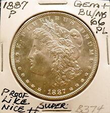 1887-P MORGAN SILVER DOLLAR GEM+ BU/MS PROOF-LIKE, SUPER NICE+ WHITE SHARP B374