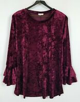 Sweet Pea Women's 2X Burgundy Long Sleeve Stretchy Velour Tunic Top