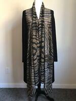 Vintage JOSEPH RIBKOFF Animal Print Jacket Versatile Wrap Womens Size 16 Black