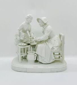 Vintage White CAPODIMONTE Italian Art Pottery Seated Baker & Lady Mounted Scene