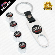 Chrome Car Wheel Tire Valve Dust Stems Air Caps + Keychain With Audi Emblem