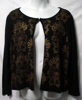 C J BANKS PLUS 3X 24/26 BLACK GOLD OPEN FRONT CARDIGAN SWEATER SOFT ELEGANT NEW