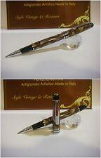 Penna a sfera Zhenjue 208 Celluloid Brown marbled - struttura in metallo