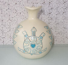 Gourd-shaped Mexican Pottery Pitcher, Etched Mexico-Indian Art, inset turquoise