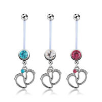 Navel Piercing Flexible Pregnancy Maternity Ring Body Baby Feet Belly PiercingGX