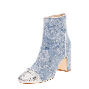 RRP €350 POLLY PLUME Denim Ankle Boots EU36 UK3 US6 Heel Glitter Made in Italy