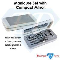 Nail Clipper Grooming Manicure Pedicure Gift Set - 5 Piece Compact Mirror Case