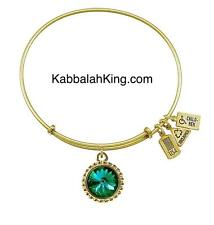 Wind & Fire May Emerald Crystal Birthstone Charm Gold Bangle Bracelet Made USA