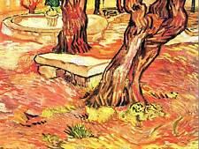 Vincent van gogh stone bench dans jardin hôpital saint paul art imprimé 2943OM