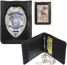 Black Leather ID Holder & Neck Chain Wallet Badge Case Law Enforcement Shield