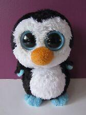 "6"" Pinguino Waddles TY Beanie Boo giocattolo morbido 2012 Plain Occhi Nero Bianco Blu"