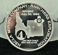 1985 IDAHO .999 ONE OZ SILVER ROUND IDAHO HECIA COMPANY RANCHERS EXPLORATION