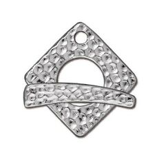 TierraCast Rhodium (Silver) Hammered Square Toggle Clasp 24mm (2) #3101