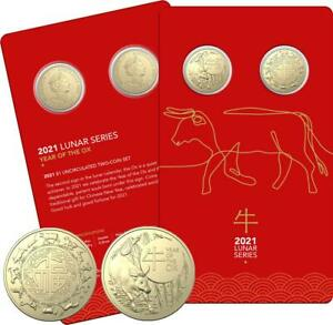2021 Australia RAM $1 AlBr Unc Two Coin Set - Year of the Ox