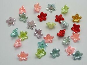 1000 Mixed Color Acrylic Pearl Bead Cap Bellflower Bell Flower Beads 10mm