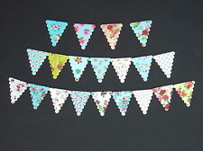 50 PRE-CUT SMALL BUNTING VINTAGE SHABBY CHIC EDIBLE CAKE RICE WAFER PAPER FLAGS