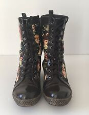 CELIFA LACE UP BOOTS  BROWN PATENT QUILT PRINT EU37 (UK4)