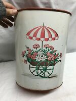 Vtg White  Metal Trash Can With Flower Cart on side Large 12in Tall 10 diam