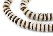 Grey Bone Mala Disk Beads 8mm Nepal Large Hole 19 Inch Strand