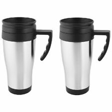 2 Pack Stainless Steel Double Wall 16oz Travel Mug Tumbler with Handle