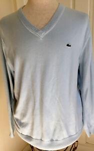 Lacoste Mens Blue Cotton V-Neck Sweater  Prep Size 6 Vintage