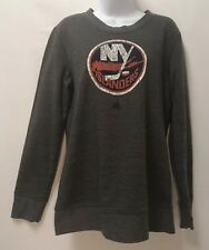 Women's ADIDAS New York Islanders NHL Vintage Heather Grey Pullover Sweatshirt M