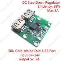 Dual USB DC-DC Buck  Converter 9V/12V/24V to 5V 2A Charger Charging Module DIY