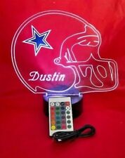 Dallas Cowboys NFL Light Up Night Light Lamp LED With Remote Personalized Free