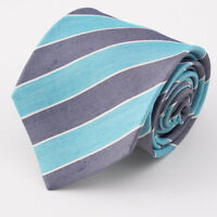 New $295 KITON NAPOLI 7-Fold Navy Blue and Turquoise Stripe Silk Tie 3.5""