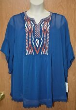Womens Pretty Blue Embroidered Style&co 3/4 Sleeve Shirt Size 2X NWT NEW