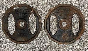 Marcy Grip Olympic Weight Plate Set Of 2 U.S.PAT.5137502 Cast Iron 5lbs