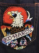 Men's Denim Pants Eagle Skull Ed Hardy Embroidered Shorts Embroidery Jams 36 New